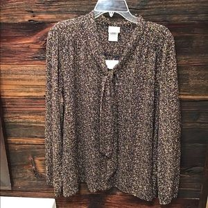 Jaclyn Smith Long Sleeve Sheer Buttoned Blouse XL